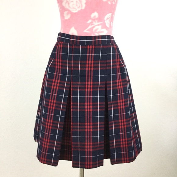 True Grit Dresses & Skirts - VTG Y2k Red Plaid School Uniform Pleated Skirt